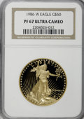 Modern Bullion Coins: , 1986-W G$50 One-Ounce Gold Eagle PR67 Ultra Cameo NGC. NGC Census:(22/7648). PCGS Population (134/9793). Mintage: 446,290....
