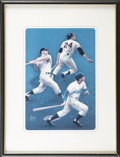Baseball Collectibles:Others, Willie Mays, Mickey Mantle and Duke Snider Signed Print. ...