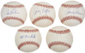 Autographs:Baseballs, Vintage MLB Stars Single Signed Baseballs Lot of 5....