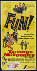 "Movie Posters:Rock and Roll, Teenage Millionaire (United Artists, 1961). Three Sheet (41"" X81""). Rock and Roll...."