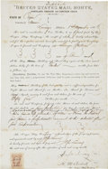 Western Expansion:Cowboy, United States Mail Route Contract, Portland, Oregon, 1866....