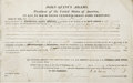 """Autographs:U.S. Presidents, John Quincy Adams, Partially Printed Document Signed """"J. Q.Adams"""" as president. One page, 15.75"""" x 9.75"""" (sight size), ..."""