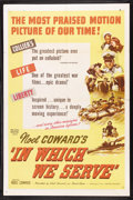 "Movie Posters:War, In Which We Serve (United Artists, 1942). One Sheet (27"" X 41""). War. Starring Noel Coward, John Mills, Bernard Miles, Celia..."