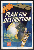 """Movie Posters:Documentary, Plan for Destruction (MGM, 1943). One Sheet (27"""" X 41""""). Documentary. Starring Lewis Stone, Frank Reicher and George Lynn. D..."""