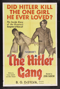 "The Hitler Gang (Paramount, 1944). One Sheet (27"" X 41""). War. Starring Bobby Watson, Roman Bohnen, Martin Kos..."