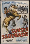 "Movie Posters:Western, Sunset Serenade (Republic, 1942). One Sheet (27"" X 41""). Western. Starring Roy Rogers, George 'Gabby' Hayes, Bob Nolan and t..."