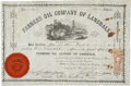 Miscellaneous:Ephemera, Farmers Oil Company of Lansdale Stock Certificate, 1865....