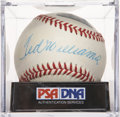 Autographs:Baseballs, Ted Williams Single Signed Baseball, PSA NM+ 7.5....