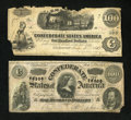 Confederate Notes:1862 Issues, T39 $100 1863 and T65 $100 1864.. ... (Total: 2 notes)