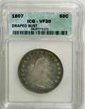 Early Half Dollars: , 1807 50C Draped Bust VF30 ICG. NGC Census: (63/496). PCGSPopulation (77/489). Mintage: 301,076. Numismedia Wsl. Price for...