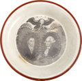 Political:3D & Other Display (pre-1896), George Washington and Marquis de Lafayette: Porcelain Cup Plate...