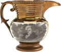 Political:3D & Other Display (pre-1896), Andrew Jackson: A Classic Copper Lustre Pitcher in Canary Yellow. ...