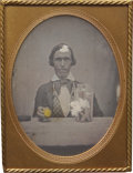 Military & Patriotic:Civil War, Rare C. 1850 Daguerreotype Occupational Portrait of What is Apparently a Gold Assayer. Large jar on the table in front of hi...