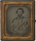 Military & Patriotic:Civil War, Indigenous Texas 1/6 Plate Ambrotype Portrait of a Dangerous-Looking Confederate Soldier, Possibly Cavalry, as He is Holding a...
