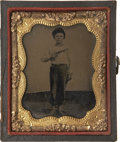 Military & Patriotic:Civil War, Unique and Charming Civil War Period 1/9 Plate Tintype Portrait of a Proud Barefoot (Approximately) Ten Year Old Boy Holding W...