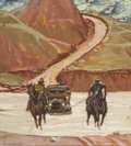 Western:20th Century, MEAD SCHAEFFER (American, 1898-1980). Horses Pulling a Car. Mixed media on paper. 11 x 10 inches (27.9 x 25.4 cm) window...