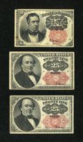 Fractional Currency:Fifth Issue, Fr. 1265 10¢ Fifth Issue Fine. Fr. 1308 25¢ Fifth Issue Fine. Fr. 1309 25¢ Fifth Issue Fine.. ... (Total: 3 notes)