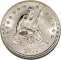 Seated Quarters, 1877-S 25C Over Horizontal S MS65 NGC....