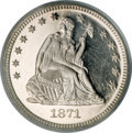 Proof Seated Quarters, 1871 25C PR64 Deep Cameo PCGS. CAC....
