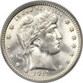 Barber Quarters, 1911 25C MS66 PCGS. CAC....