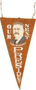 Political:Textile Display (1896-present), Theodore Roosevelt: Campaign Portrait Pennant, 1904....