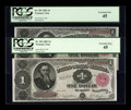 Fr. 351 $1 1891 Treasury Note PCGS Extremely Fine 45 Two Consecutive Examples