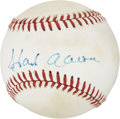 Autographs:Baseballs, Hank Aaron and Eddie Mathews Dual-Signed Baseball....