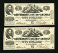 Confederate Notes:1862 Issues, T42 $2 1862 PF-2, Cr. 335.. ... (Total: 2 notes)