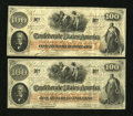 Confederate Notes:1862 Issues, T41 $100 1862 PF-11, Cr. 319A.. ... (Total: 2 notes)