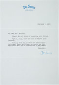 Movie/TV Memorabilia:Autographs and Signed Items, Dr. Seuss Condolence Letter to Mrs. Boris Karloff....
