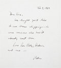 Movie/TV Memorabilia:Autographs and Signed Items, Boris Karloff Related - Peter Bogdanovich Condolence Letter to Mrs. Karloff, with Clipping. ...