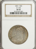 Bust Half Dollars, 1821 50C XF45 NGC. O-105. NGC Census: (48/329). PCGS Population(47/309). Mintage: 1,305,797. Numismedia Wsl. Price for NGC...