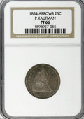 Proof Seated Quarters, 1854 25C Arrows PR66 NGC....