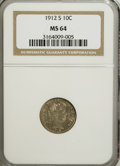 Barber Dimes: , 1912-S 10C MS64 NGC. NGC Census: (34/35). PCGS Population (55/22). Mintage: 3,420,000. Numismedia Wsl. Price for NGC/PCGS c...
