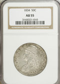 Bust Half Dollars: , 1834 50C Small Date, Small Letters AU55 NGC. O-114. NGC Census:(0/0). PCGS Population (87/235). (#6166)...