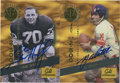 Football Collectibles:Others, Y.A. Tittle and Sam Huff Signed Trading Cards Group Lot of 2....
