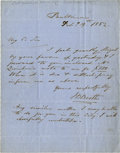 """Autographs:Celebrities, Junius Brutus Booth Autograph Letter Signed """"J B Booth"""",near one page, 7.75"""" x 10"""", Baltimore [Maryland], 19 February 1..."""