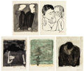 Fine Art - Work on Paper:Print, BEN SHAHN (American, 1898-1969). For the Sake of a SingleVerse by Rainer M. Rilke, 1968. Lithograph on Richardde...