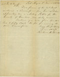 """Political:Presidential Relics, Richard H. Garrett, Owner of the Farm where John Wilkes Booth Was Killed, Autograph Letter Signed, one-half page, 6"""" x 7.5"""",..."""