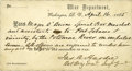 Autographs:Military Figures, [Pursuit of Booth] James A. Hardie Partly Printed Pass,accomplished and signed as Brevet Brigadier and Inspector General,o...