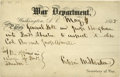 """Political:Presidential Relics, [Assassination Trial] Edwin M. Stanton Partly Printed Pass on """"War Department"""" form, accomplished and signed by Stanton as s..."""