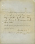 "Autographs:U.S. Presidents, Abraham Lincoln Partly Printed Document Signed as President. DS""Abraham Lincoln"" 1 page, 8"" x 10"", Washington, 2 Februa..."