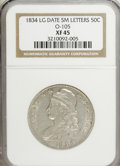 Bust Half Dollars, 1835 50C Large Date Small Letters XF45 NGC. O-105. NGC Census:(71/539). PCGS Population (76/454). Mintage: 5,352,006. Numi...