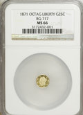 California Fractional Gold: , 1871 25C Liberty Octagonal 25 Cents, BG-717, R.3, MS66 NGC. NGCCensus: (3/2). PCGS Population (17/4). (#10544)...