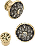 Estate Jewelry:Cufflinks, Victorian Diamond, Enamel, Silver-topped Gold Cuff Links. ...