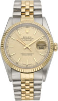 Timepieces:Wristwatch, Rolex Ref. 16200 Men's Steel & Gold Datejust, circa 1991. ...