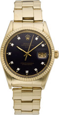 Timepieces:Wristwatch, Rolex Ref. 15037 Men's Gold Oyster Date with Diamond Dial, circa 1985. ...