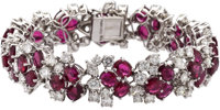 Ruby, Diamond, Platinum Bracelet