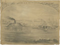 Military & Patriotic:Civil War, Original Eyewitness Pencil Sketch of the Battle of Hampton Roads, the first ever fight between two powered iron-covered wars...