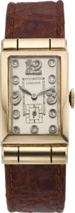 Timepieces:Wristwatch, Longines Gold Diamond Dial Hooded Lug Wristwatch, circa 1940's. ...